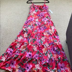 Eliza J floor length floral dress. Coral color
